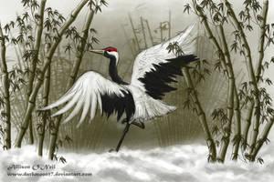Winter Crane Art Trade