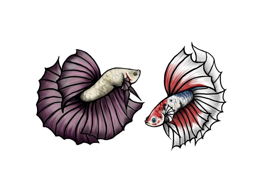 Betta Tattoo Commish by DarkMoon17 on DeviantArt Betta Fish Drawings