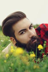 The bearded man in the flower field 1