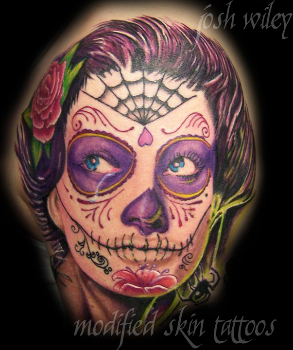 Sugar Skull Tattoo by ~ModifiedSkinTattoos on deviantART