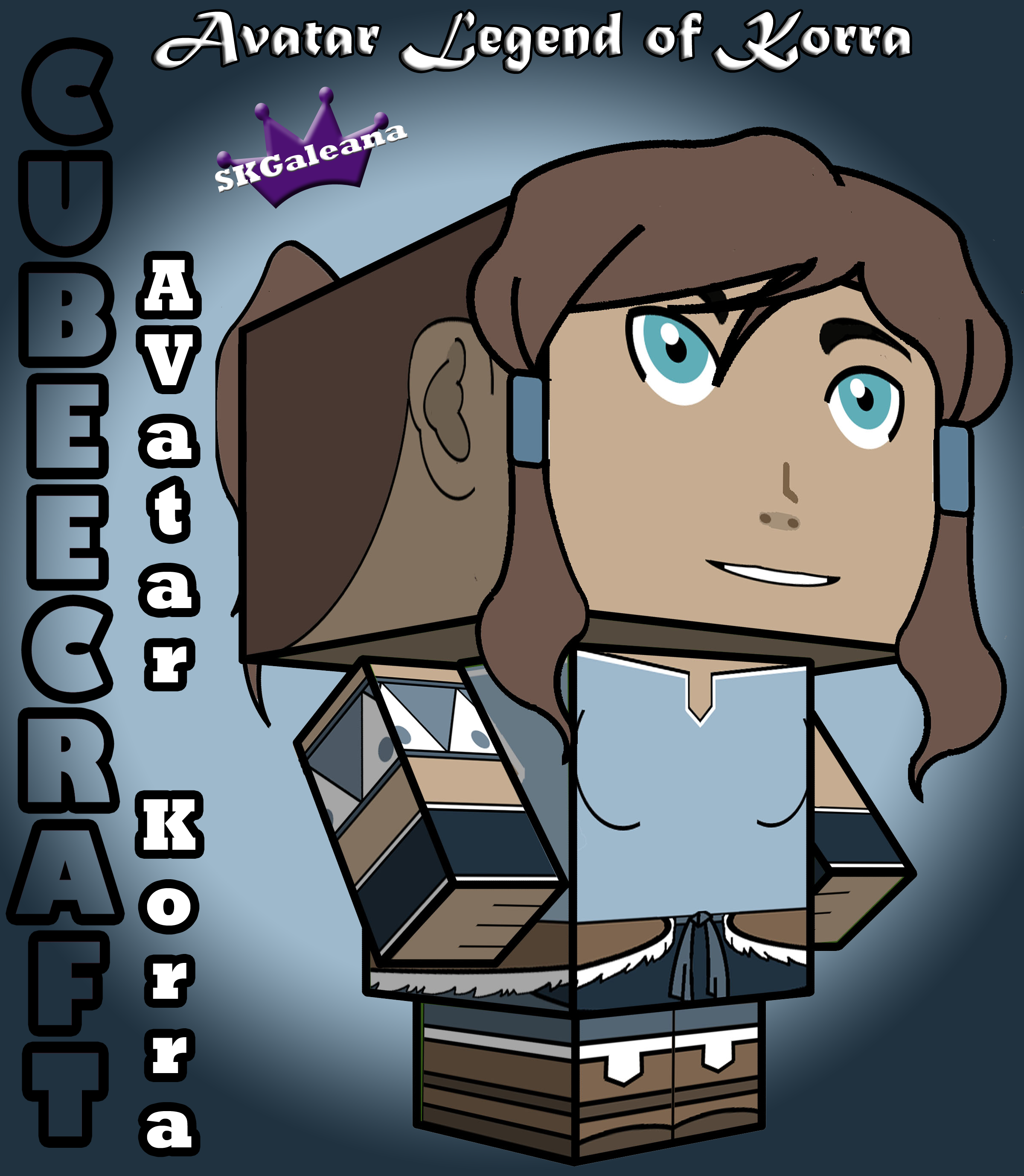 3D cubeecraft image of Avatar Korra by SKGaleana