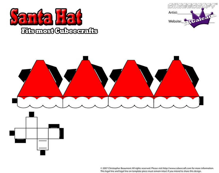 Cubeecraft Santa Hat Fits most cubeecrafts by SKGaleana on DeviantArt