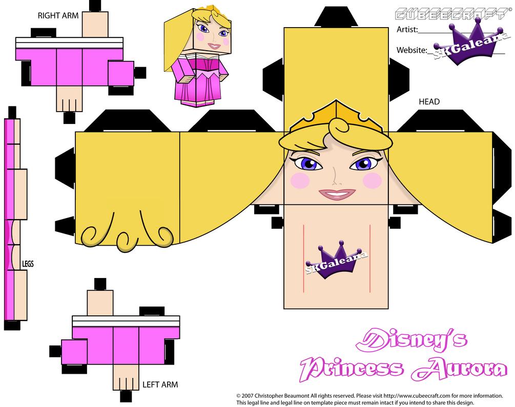 Disney Princess Aurora Cubeecraft Pink Dress PT 1 by SKGaleana