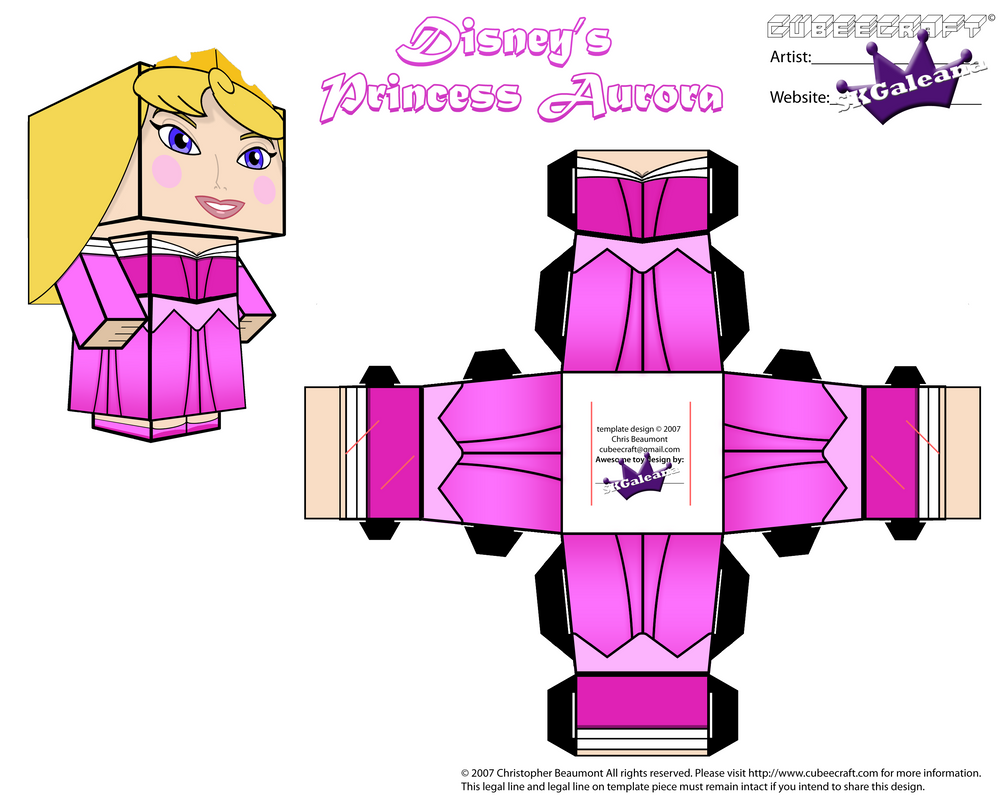 Disney Princess Aurora Cubeecraft Pink Dress PT 2 by SKGaleana