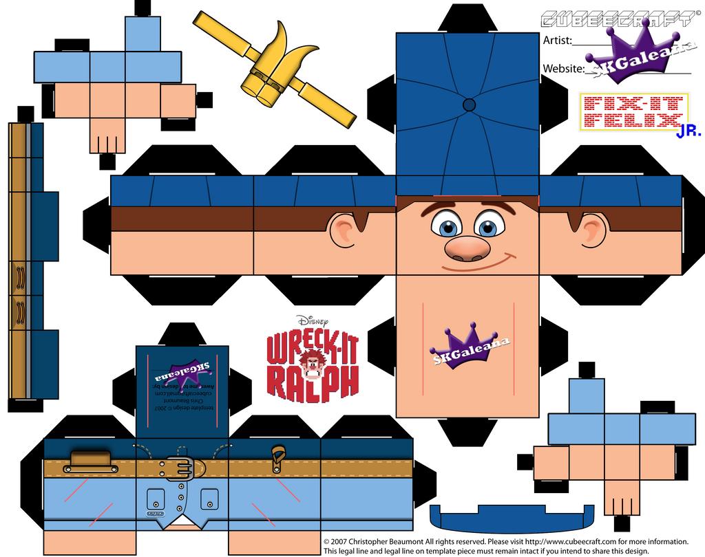 Disney Felix Jr Cubeecraft Wreck-it Ralph template by