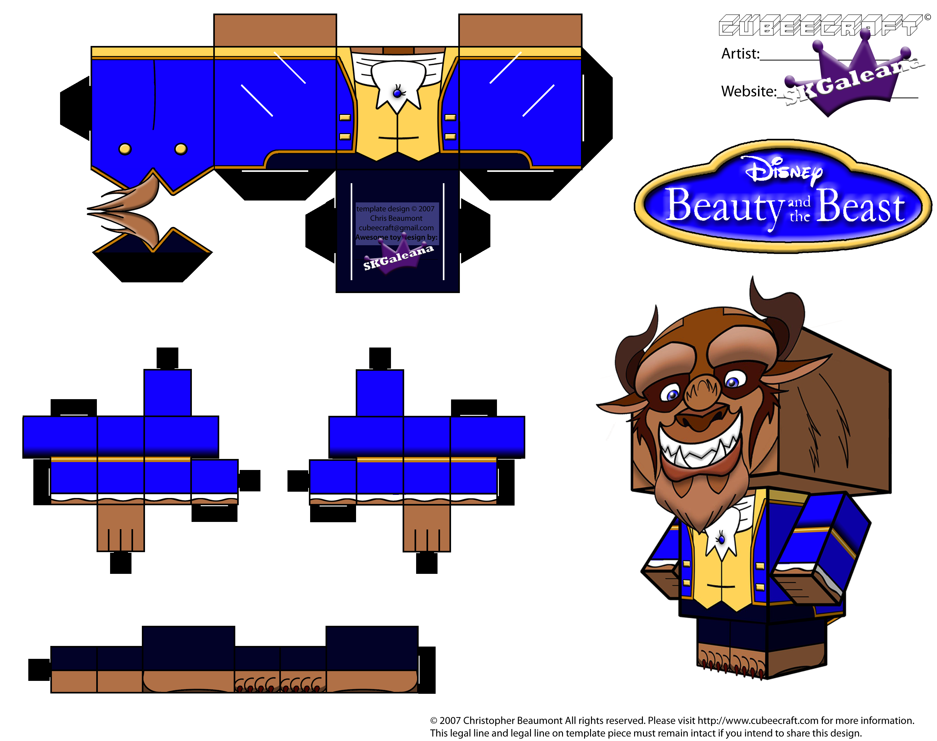 Cubeecraft Of Beast From Disney S Beauty And The Beast Skgaleana