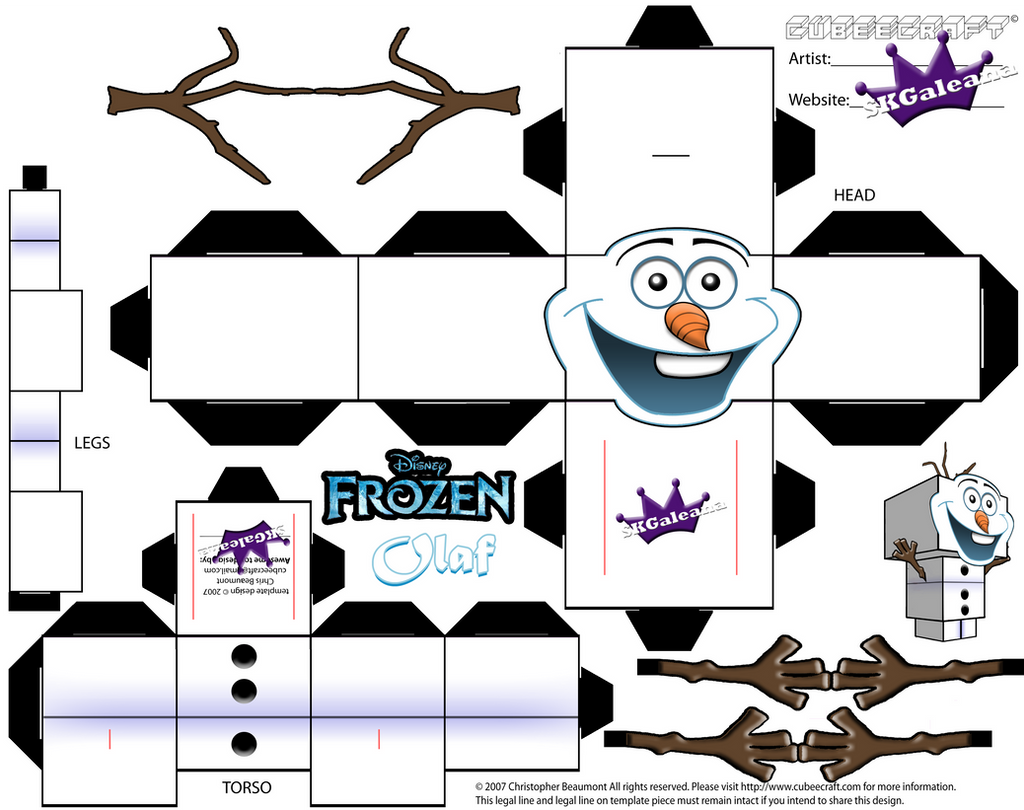 Olafwinter explore olafwinter on deviantart skgaleana 58 5 cubeecraft template of olaf from disneys frozen by skgaleana pronofoot35fo Gallery