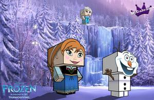 Disney Frozen cubeecrafts Frozen Waterfall by SKGaleana