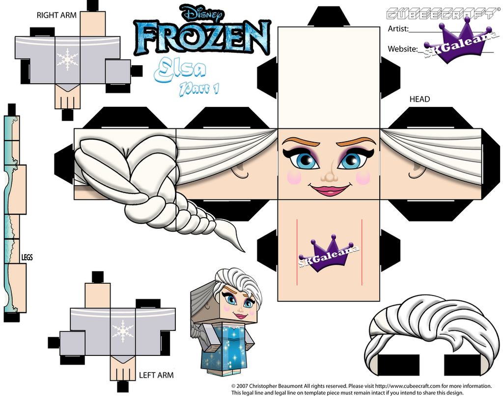 Elsa From Disney's Frozen cubeecraft Template P1 by