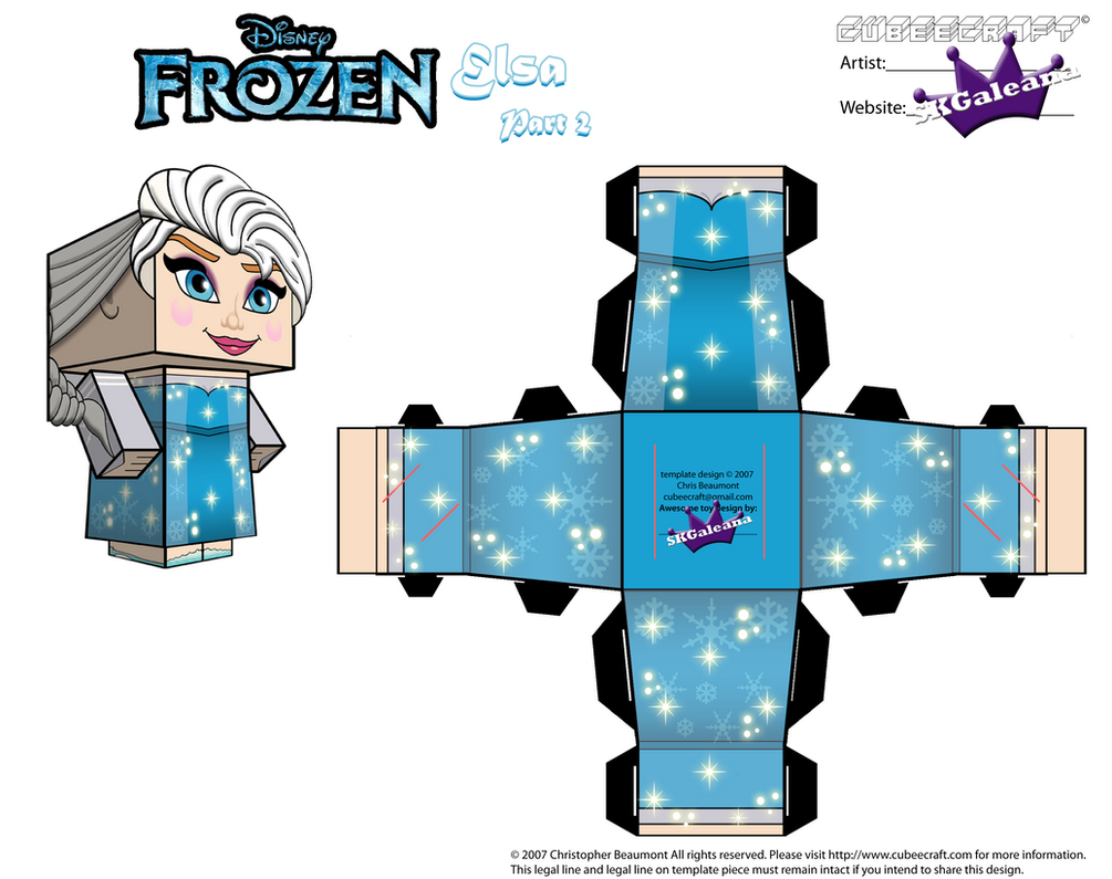 Elsa From Disneys Frozen Cubeecraft Template P2 By SKGaleana