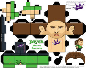 Cubeecraft of Shawn Spencer from Psych template
