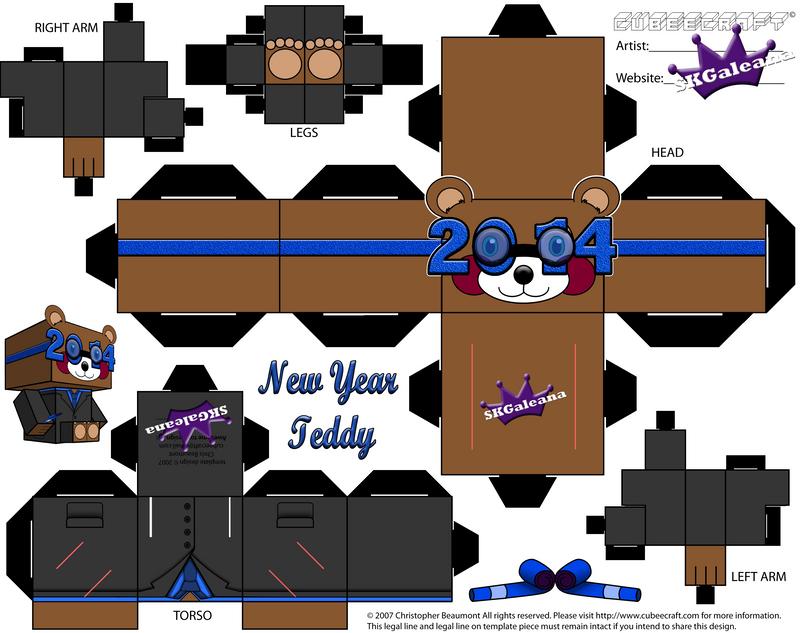 2014 New Year Teddy Bear Cubeecraft Blue template by SKGaleana on ...