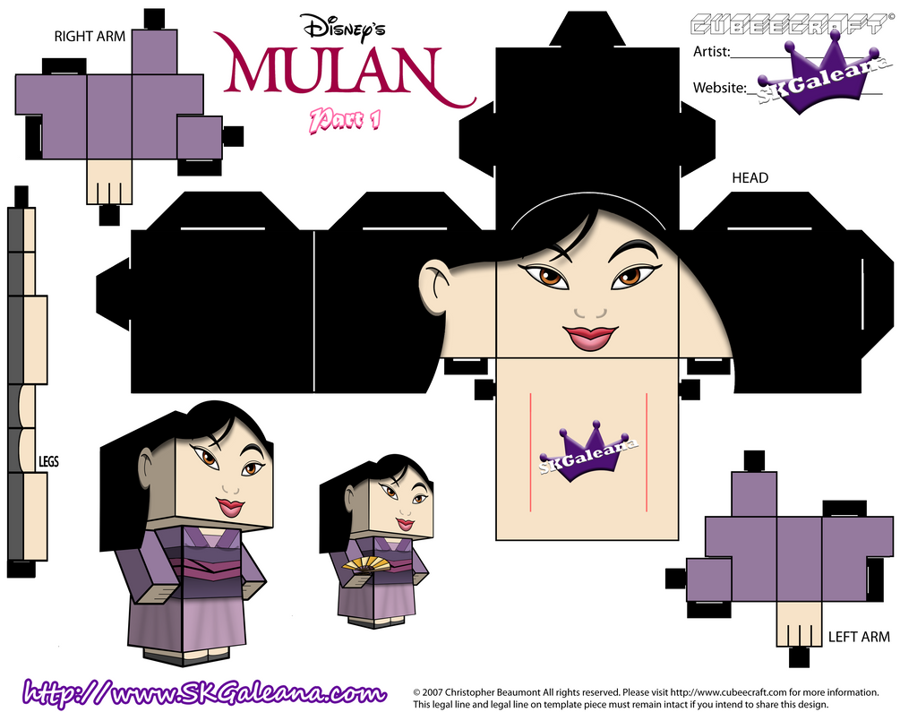 Disney Princess Mulan Cubeecraft Purple Dress Pt1 By SKGaleana