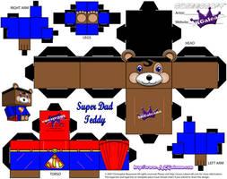 Teddy Bear Super Dad  cubeecraft template by SKGaleana