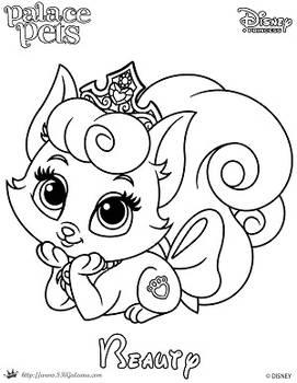 Beauty Princess Palace Pet Coloring Page SKGaleana