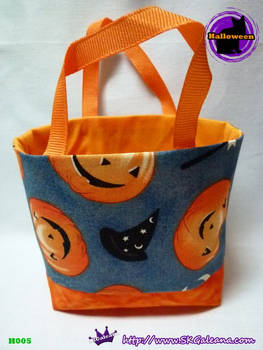 Handmade Tiny Tote Bag Featuring Jack-O-Lantern