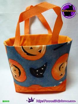 Handmade Tiny Tote Bag Featuring Jack-O-Lantern by SKGaleana