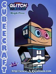 Glitch Tech High Five 3D Cubeecraft by SKGaleana