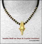 WOLF HEAD ANUBIS ON ONYX AND CRYSTAL NECKLACE