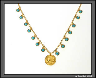 Ancient Lion Coin on Gold and Turquoise Chain by GoodSpiritWolf