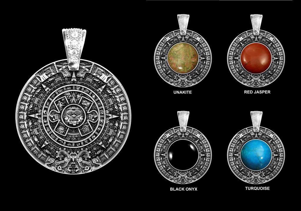 Aztec calendar stone as medallion cz pendant by goodspiritwolf on aztec calendar stone as medallion cz pendant by goodspiritwolf aloadofball Image collections