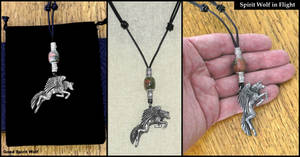 Spirit Wolf in Flight on Beaded Thong Necklace