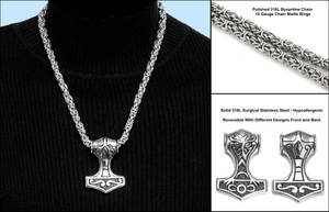Large Stainless Mjolnir on Chain Maille Necklace by GoodSpiritWolf