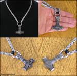 Antique Silver Finish Mjolnir on Byzantine Chain