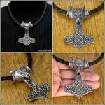 Huge Fenrir Wolf Head Hammer on Tribal Necklace