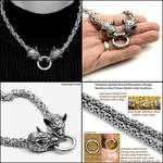 Snarling Wolf Fenrir Werewolf Head Steel Necklace
