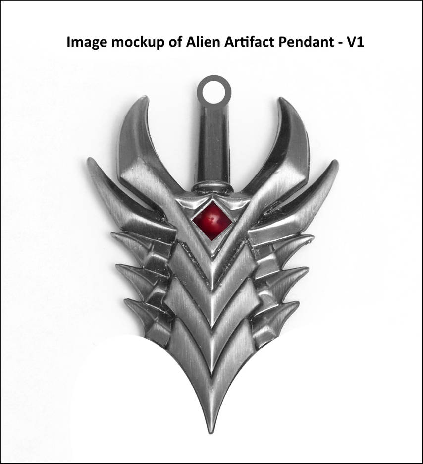 Fantasy or Alien Artifact Pendant Mockup Design by