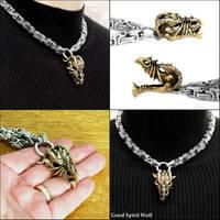 Ferocious Bronze Dragon Skull on Byzantine Chain by GoodSpiritWolf