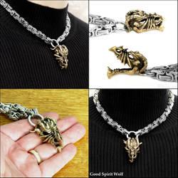 Ferocious Bronze Dragon Skull on Byzantine Chain