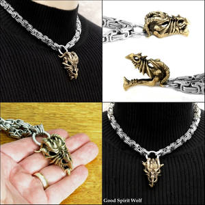 Ferocious Bronze Dragon Skull on Byzantine Chain