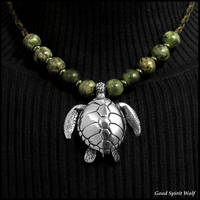 Large Sculpted Sea Turtle Tribal Beaded Necklace
