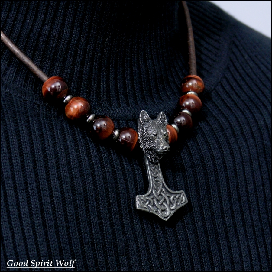 Tribal Wolf Mjolnir On Beaded Leather Necklace