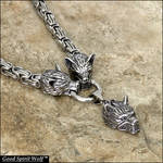 Three Snarling Fenrir Wolves Necklace