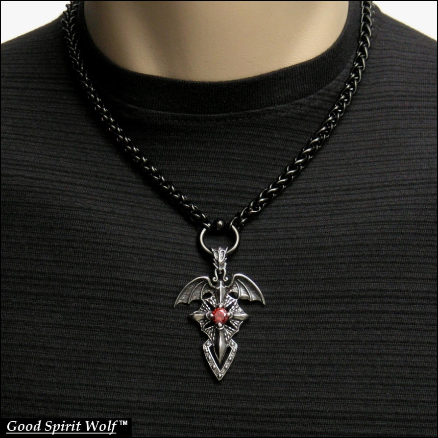 Order of the dragon pendant on black braided chain by goodspiritwolf aloadofball Gallery