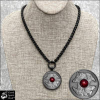 Wolf and Raven Coin on Black Wheat Chain Necklace