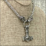 Large Steel Mjolnir on Dragon Chainmaille Necklace