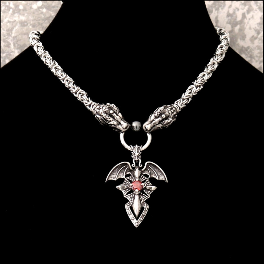 Order of the dragon on dragon chainmaille neckalce by goodspiritwolf aloadofball Gallery