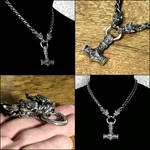 Bold Fenrir Wolf King Necklace with Mjolnir