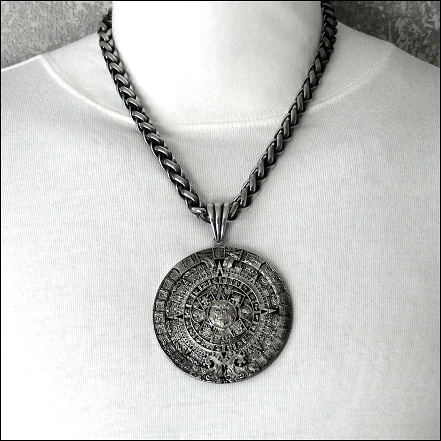 Huge aztec calendar medallion on braided chain by goodspiritwolf on huge aztec calendar medallion on braided chain by goodspiritwolf aloadofball Image collections