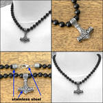 Sculptured Small Mjolnir on Knotted Bead Necklace