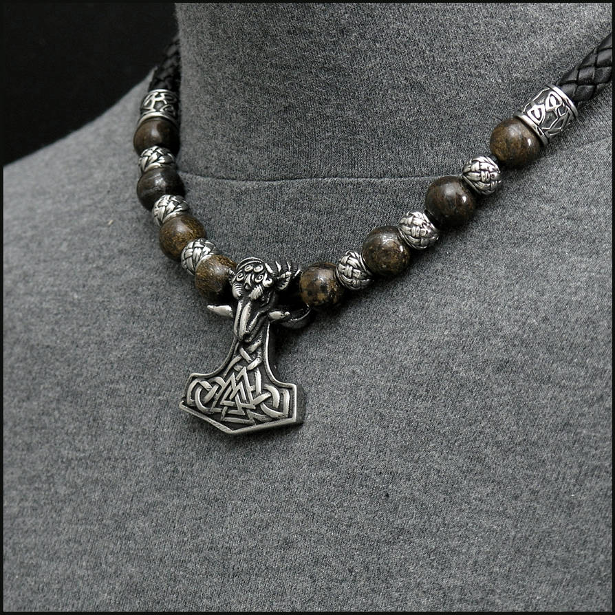 Ram Mjolnir Leather and Bead Necklace by GoodSpiritWolf