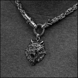 Viking Royalty Necklace With Fenrir Wolf Head by GoodSpiritWolf