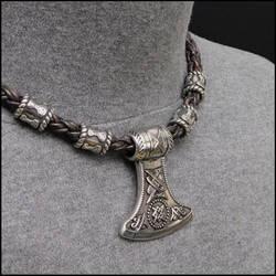 Battle Axe Pendant on Viking Braid Beaded Necklace by GoodSpiritWolf