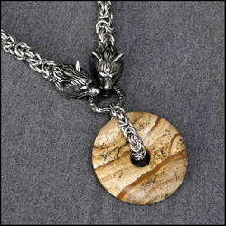 Earth Stone Chainmaille Necklace - Picture Jasper by GoodSpiritWolf
