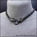 Black Guardian Wolves Tribal Leather Necklace