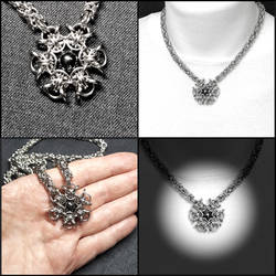 Black Star Fusion Chainmaille Pendant Necklace
